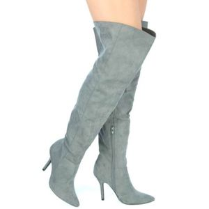 Grey Faux Suede Knee High Boot Heels Pointy Toe